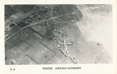 WWII 1945 USMC Okinawa RPPC by Grogan No 3-6 bombed airplanes Yontan Airfield