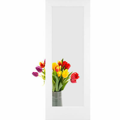 "Frameport FA_3243990W Primed Clear Glass 30"" by 80"" 1 Lite Passage Door"