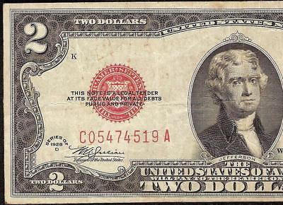 1928D $2 MULE NOTE TWO DOLLAR BILL UNITED STATES LEGAL TENDER RED SEAL Fr 1505m