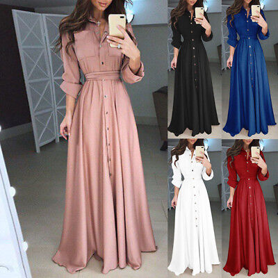Women Blouse Evening Party Ball Prom Gown Formal Cocktail Wedding Long Dress
