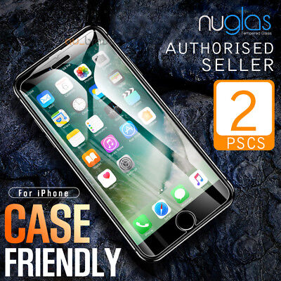 2x Apple iPhone 8 Plus 7 6s se 5s GENUINE NUGLAS Tempered Glass Screen Protector