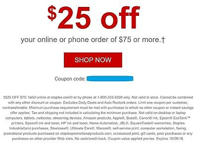 how to get $25 off $75 Staples Coupons?