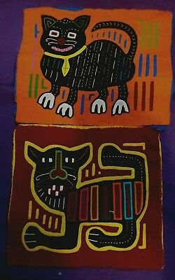 Lot Of 2 Vintage Kuna Molas Cats