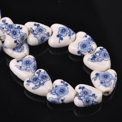 NEW 10pcs 14mm Ceramic Heart Flowers Loose Spacer Beads Findings Pattern #5