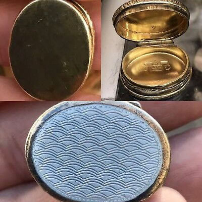 Antique Style 24ct Gold Gilded Enamel Sterling Solid Silver Pill Box Snuff Case