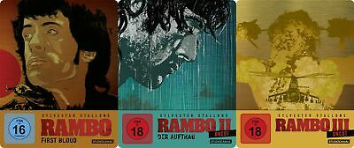 Rambo - Teil 1+2+3 - Steelbook Set - Uncut # 3-BLU-RAY-SET-NEU