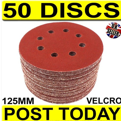 50x 125mm Sander Discs Sand Paper Round 40 60 80 100 120 Grit Sanding Sheets Red