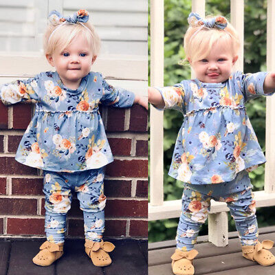 New Toddler Baby Girls Kids Spring Clothes Floral Top Dress & Pants Outfit Set