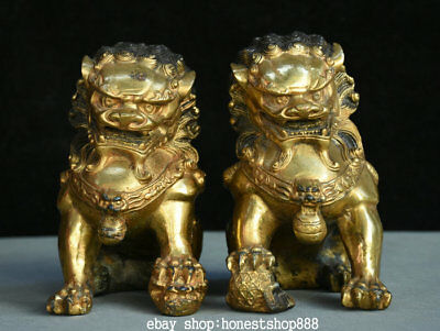 "7"" Old Chinese Bronze Gild Feng Shui Foo Fu Dog Guardion Lion Ball Son Statue"