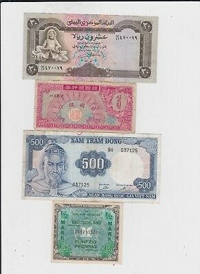 World Paper Money Collection  11 old notes lower grade and up