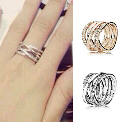 Silver Rose Gold Entwining Rings With Crystal Wedding Party Fine Pandora Jewelry