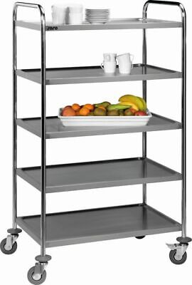 Stainless Steel Serving Cart Clearing Trolley Transporter Kitchen