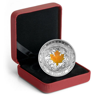 2016 Canada $20 Proof Silver Majestic Maple Leaves Drusy Stone In OGP SKU37730