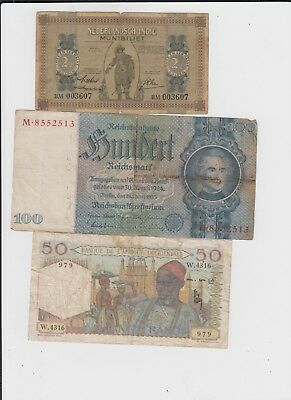 World Paper Money Collection  12 old notes lower grade and up