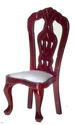 Dolls House Mahogany Cream Dining Chair Miniature Wooden 1:12 Scale Furniture