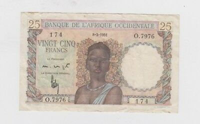 French West Africa Paper Money one old note vf-ef