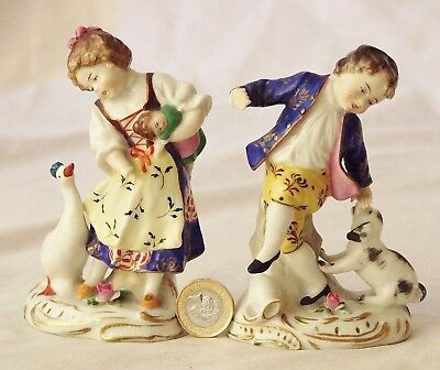 Antique Pair Porcelain Figurines~Boy & Girl With Puppy & Gosling (A/f)