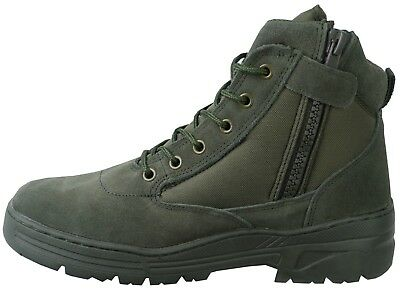 Green Army Patrol Side Zip Combat Mid Boots Tactical Military Hiking Suede 980