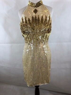 Cocktail Dress Sequins Originals NWT 100% Silk Sequins Beading Halter Short