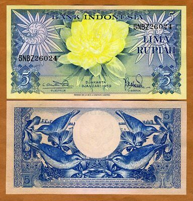 Indonesia, 5 Rupiah, 1959, P-65, UNC > Birds, Flowers > 60 years old