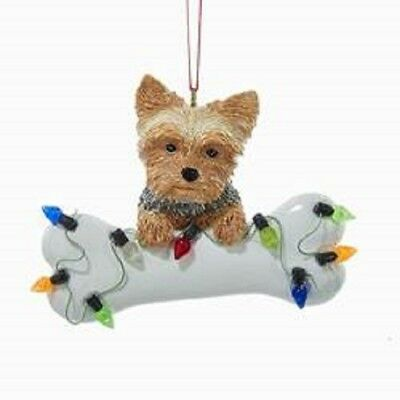DogBone YORKSHIRE TERRIER w/Dog Bone & Lights Resin Christmas Ornament