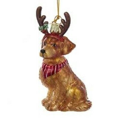 Glass Dog Ornament GOLDEN RETRIEVER w/Antlers Dog Breed Christmas Ornament
