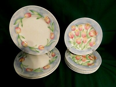 Coventry PTS International Fine Porcelain Spring Tulip 10Pc Lot Dinner & Salad