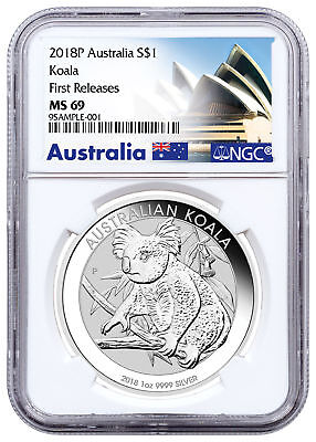 2018-P Australia 1 oz Silver Koala $1 Coin NGC MS69 FR Exclusive Label SKU52181