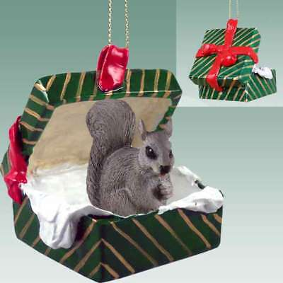 GRAY SQUIRREL Christmas GREEN GIFT BOX Ornament HAND PAINTED FIGURINE Animal