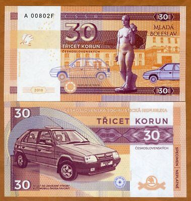 Czechoslovakia, 30 Korun, 2018, Private issue, Specimen, UNC > Skoda Favorit