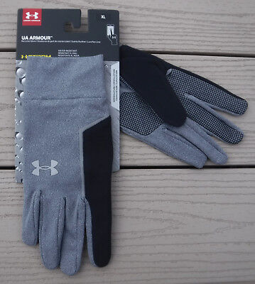 "NWT UNDER ARMOUR Storm ""No Breaks"" Mens Reflective Run Liner Gloves-XL @$25 GRAY"