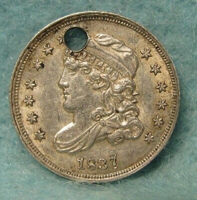 1837 REPUNCHED DATE CAPPED BUST SILVER HALF DIME AU Details * US Coin #3013