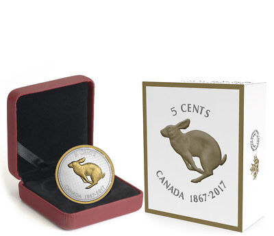 2017 Canada Big Coin Series Colville Rabbit 5 oz. Silver Gilt Proof 5c SKU46967