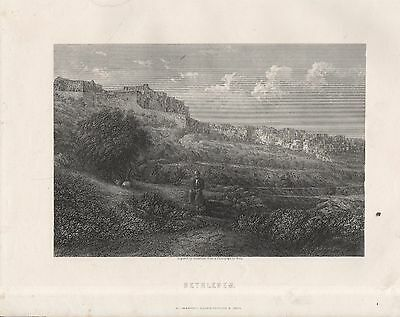 Steel-Engraved View Of Bethlehem. Based On Photograph, Drawn By Greatbach(1870)