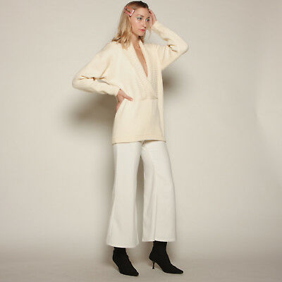 vtg 80s cream RIBBED KNIT lambswool PLUNGING shawl collar minimalist sweater top