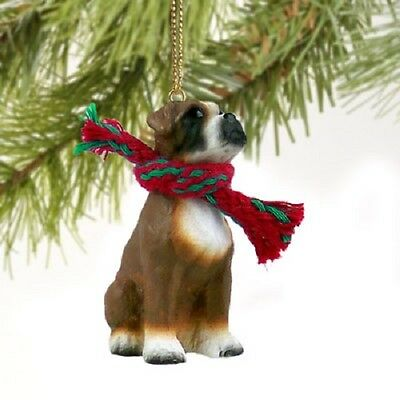 BOXER dog HAND PAINTED ORNAMENT Figurine UNCROPPED puppy Christmas COLLECTIBLE