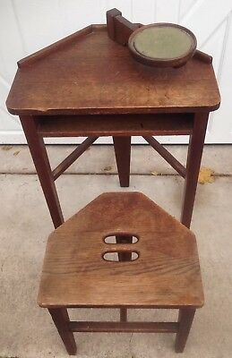 Antique Mission Oak Arts & Crafts Corner Candlestick Telephone Table And Bench