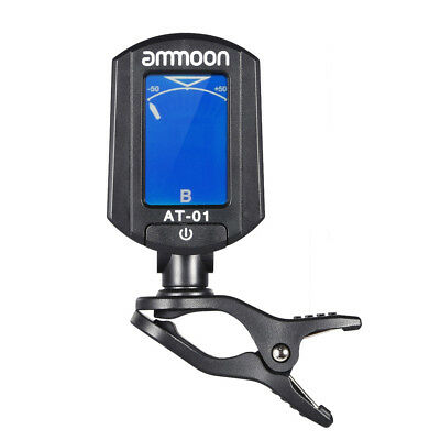 ammoon AT-01 Portable Clip-on Digital Tuner 360 Degree Rotating for Guitar U6F2