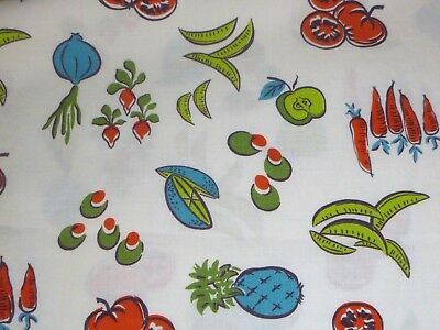 """Vtg Cotton Novelty Print Fabric Fruits Vegetables 35"""" x 41"""" Olives Tomatoes peas"""