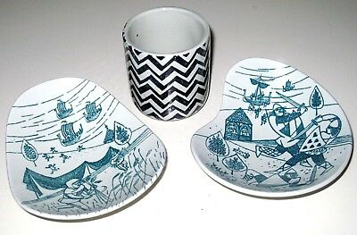 Vintage Nymolle 2 Hoyrup Viking Motif Plates & Small Pottery Pot Made in Denmark