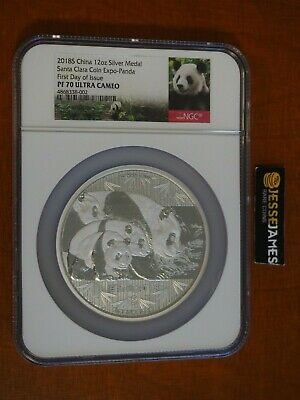 2018 12Oz China Proof Silver Panda Ngc Pf70 First Day Issue Santa Clara Expo
