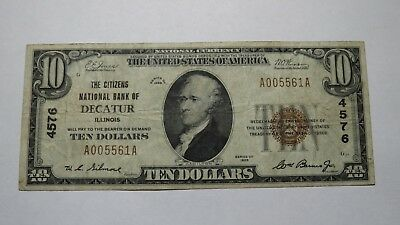 $10 1929 Decatur Illinois IL National Currency Bank Note Bill Ch. #4576 VF! RARE