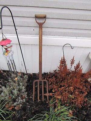 "Vintage  Farm=Garden Potato Fork/spading/pitch Fork-41""long=4 Tine Aerating"
