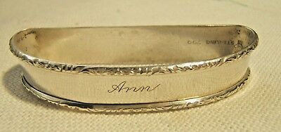 Lunt Sterling Silver Napkin Ring With Decorative Border Engraved Ann