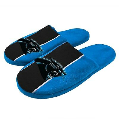 Pair of Carolina Panthers Big Logo Stripe Slide Slippers House shoes NEW STP18
