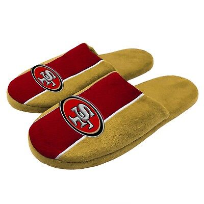 Pair of San Francisco 49ers Big Logo Stripe Slide Slippers House shoes NEW STP18