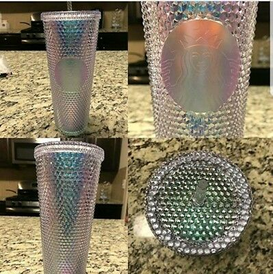 NEW Starbucks 2018 Holiday Rainbow Iridescent Glitter Tumbler Cold Cup 24 OZ