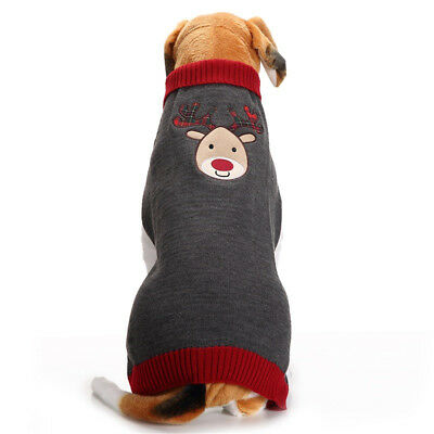 Christmas Dog Clothes Winter Sweater Puppy Cat knit Jumper w/ Reindeer Pattern