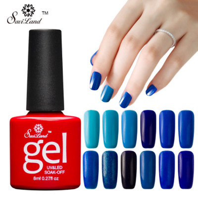 Saviland 12Pcs/set Blue Series Semi Permanent Nail Gel Soak Off Long-Lasting