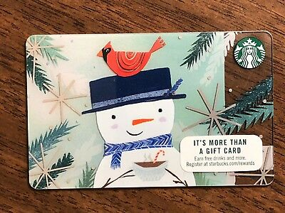 Starbucks Gift Card 2017 Snowman Red Bird Cardinal Snow Flake Holiday No $ Value